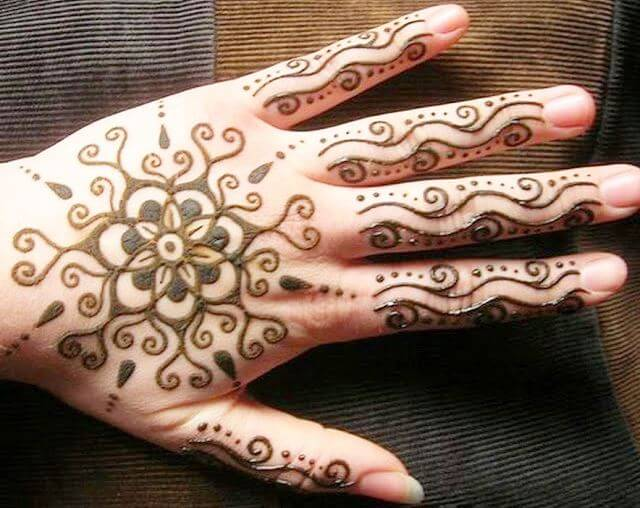 Bold floral motif Henna designs