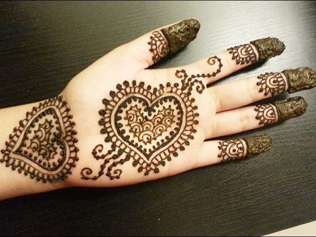 Henna design with heart pattern