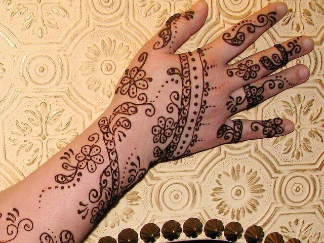 Henna designs with floral pattern