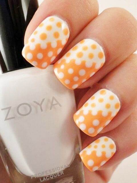 Orange and White Polka Dots Nail Art Designs