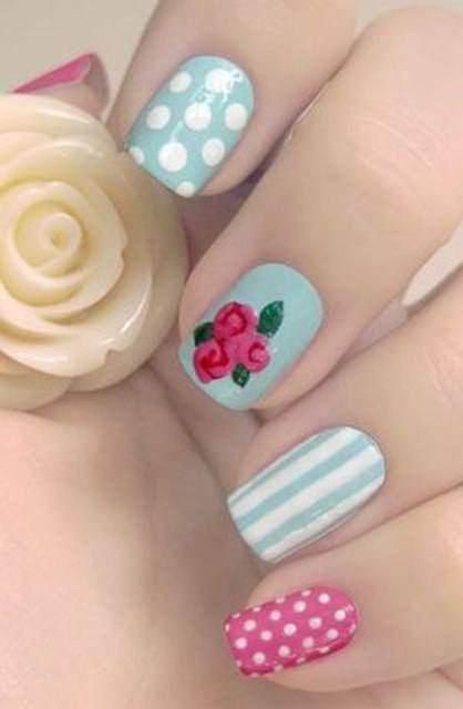 Pink and Blue Nail Art Designs