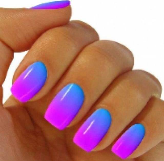 Pink and Blue Ombre Nail Art Designs