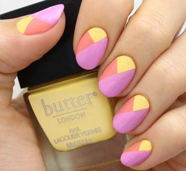 Pink and Yellow Nail Art Designs