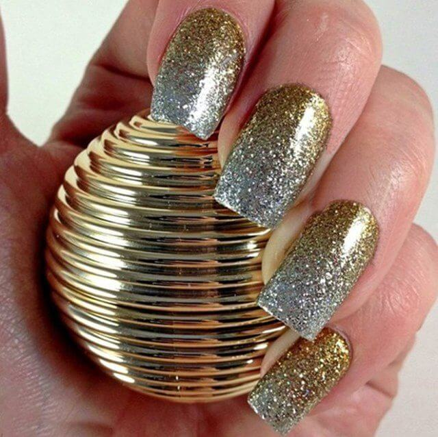 Silver-Golden Glittery Nail Art Designs