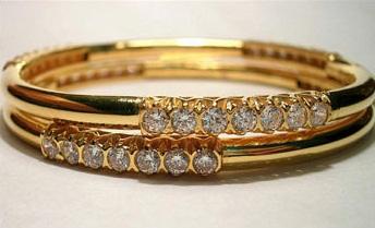 Designer Gold Bangles Studded with Diamonds