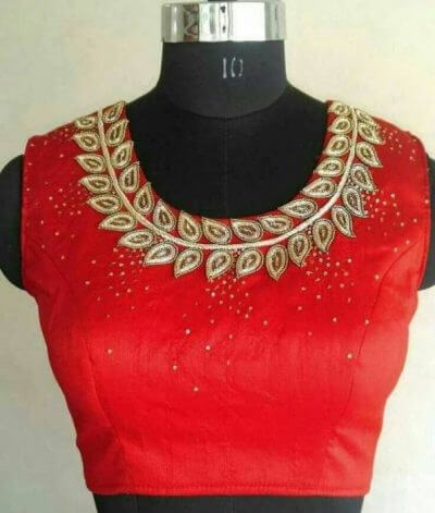 Fierce red with golden Maggam work
