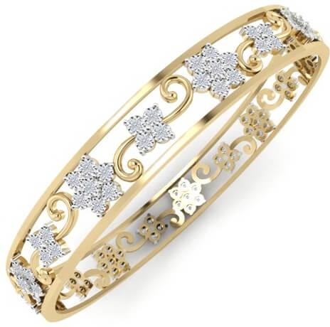 Floral Designed Diamond Bangles