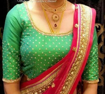 Maggam work in mint green color blouse