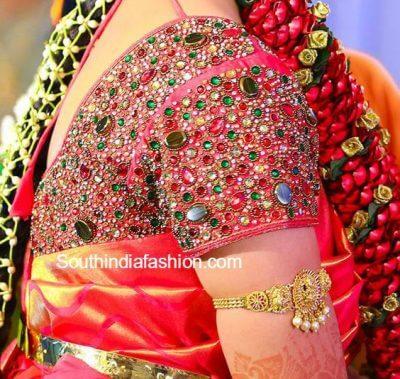 Maggam work on bridal blouse